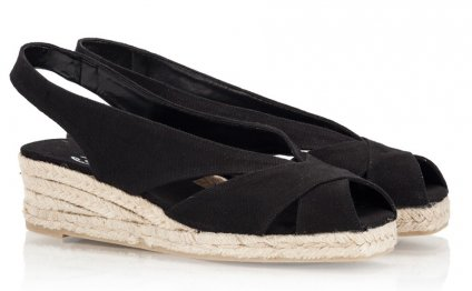 DUNIA Black canvas mid wedge