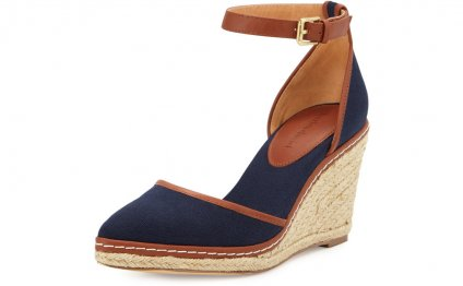 Navy Blue Espadrille Wedges Shoes