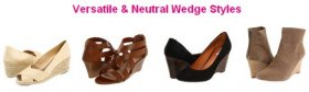 Versatile and timeless wedge footwear designs