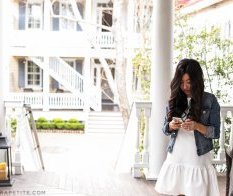 white gown denim jacket springtime outfit